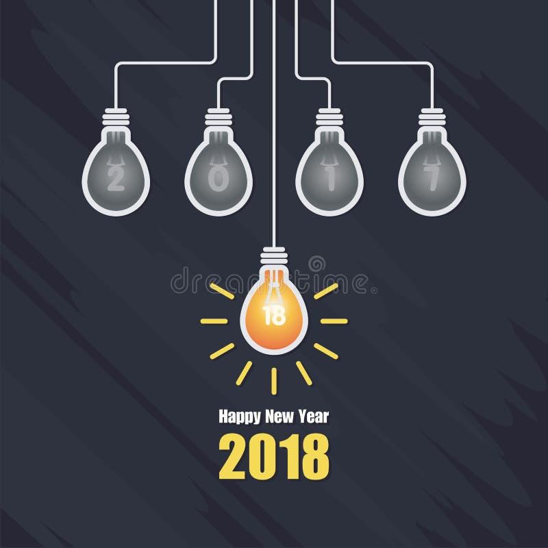 Bonne année 2018 avec l'illustration d'ampoule illustration stock