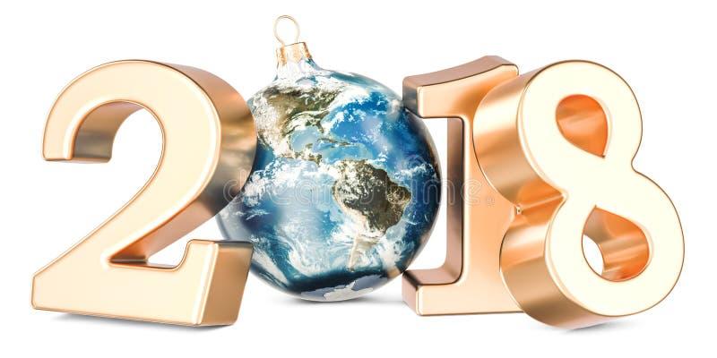 Bonne année 2018 avec la boule de Noël formée comme globe de la terre, 3 illustration stock