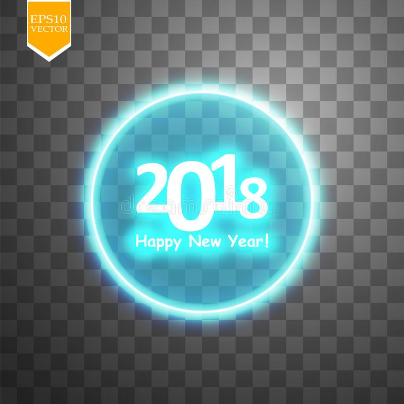 Bonne année 2018 avec la cible sur le fond transparent de backgraund illustration de vecteur