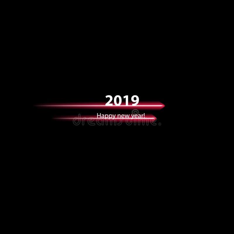 Bonne année 2019 avec la ligne rapide sur le fond noir illustration de vecteur