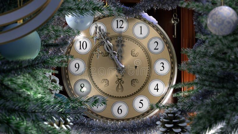 Bonne année avec la vieille horloge illustration stock