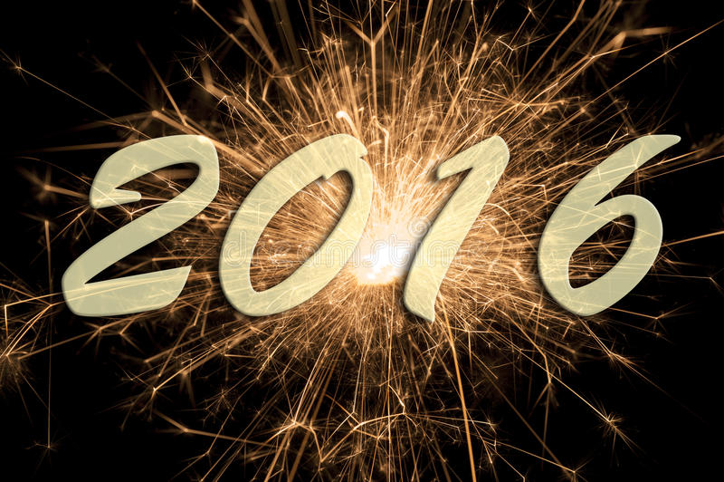 Bonne année 2016 avec le feu d'artifice photo libre de droits