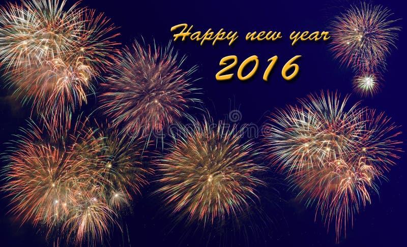 Bonne année 2016 avec le feu d'artifice photos libres de droits