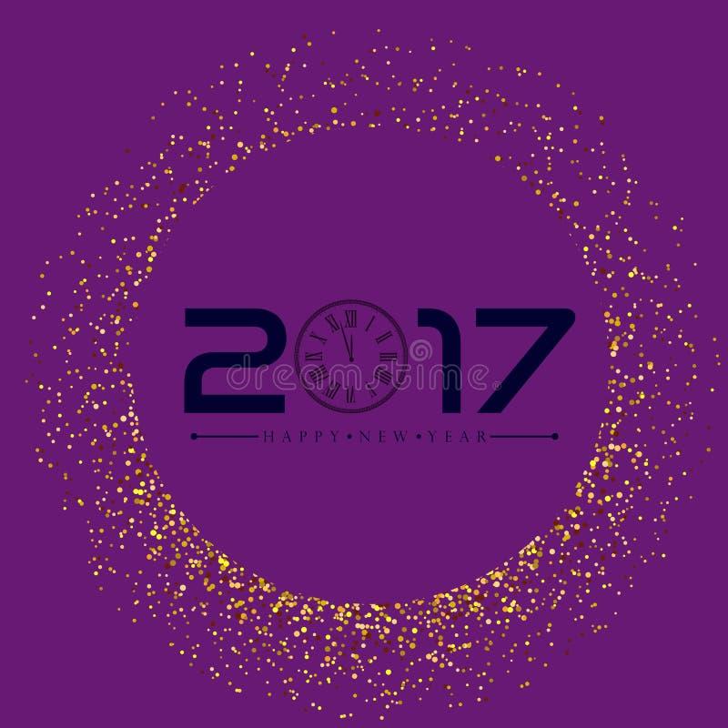 Bonne année avec le fond d'or de scintillement Vecteur d'or de scintillement image libre de droits