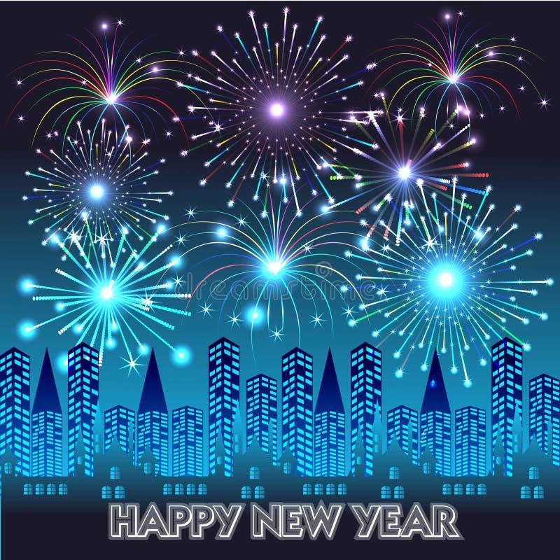 Bonne année avec le fond de feux d'artifice illustration libre de droits