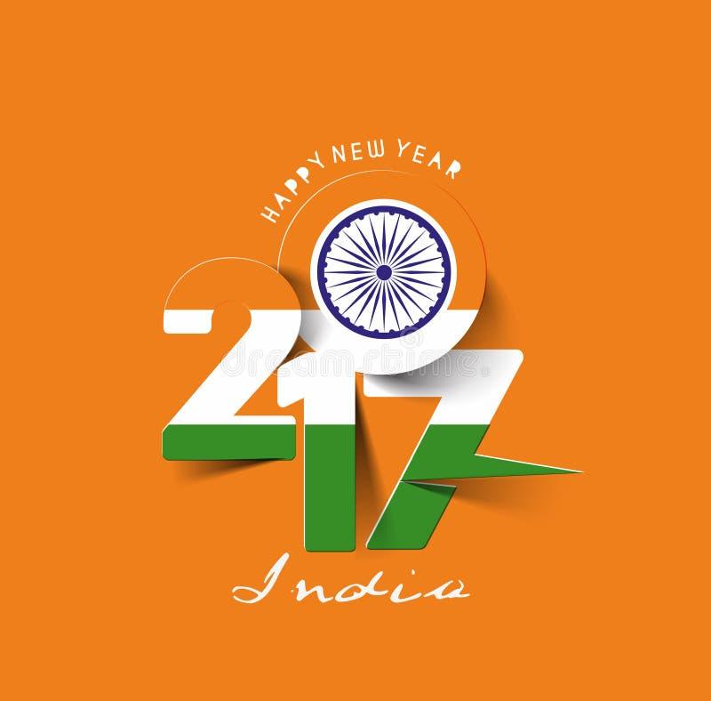 Bonne année 2017 avec le texte de modèle de drapeau d'Inde illustration de vecteur