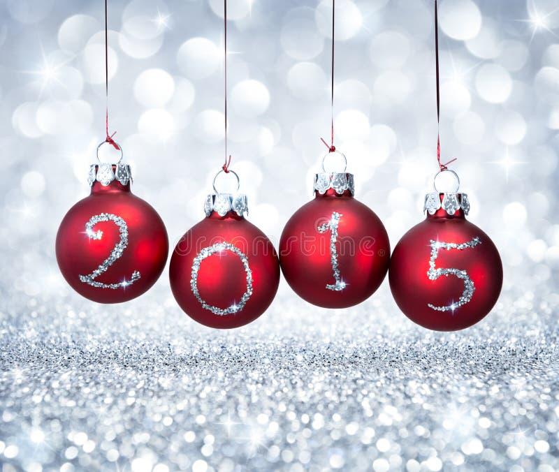 Bonne année 2015 avec Noël de boules photo stock