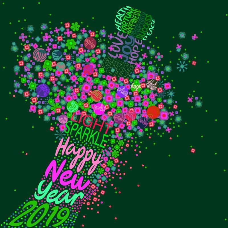 Bonne année 2019 avec une explosion florale illustration de vecteur