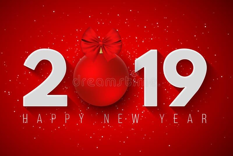 Bonne année 2019 Bannière de fête pour votre projet Flocons de neige sur un fond rouge-clair Les nombres de papier avec un ` s de illustration de vecteur