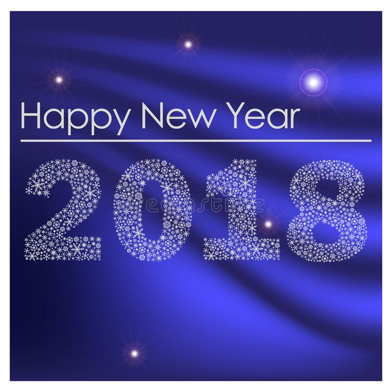 Bonne année brillante bleue 2018 des petits flocons de neige eps10 illustration stock