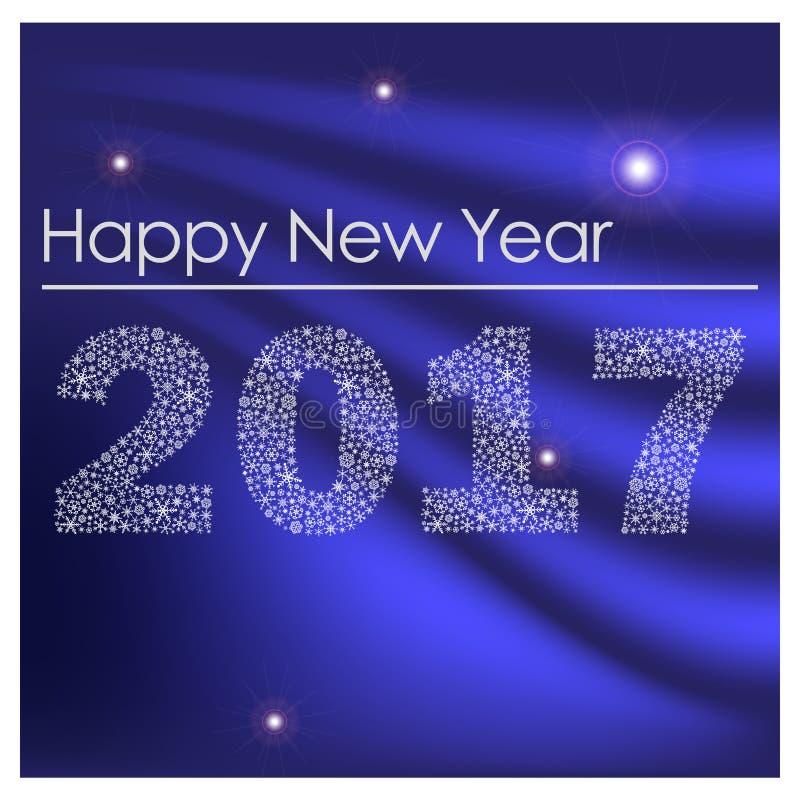 Bonne année brillante bleue 2017 des petits flocons de neige eps10 illustration de vecteur
