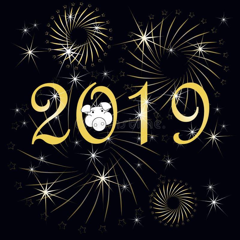 Or 2019, bonne année, carte de bannière de typographie de félicitation de porc dessus sur le noir illustration libre de droits