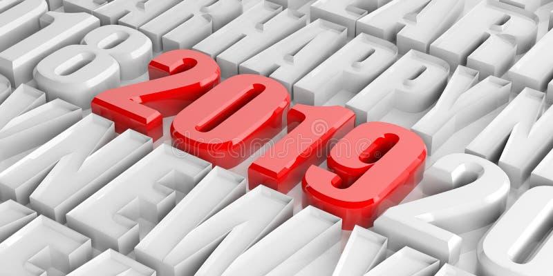 Bonne année 2019, chiffres rouges et lettres, nombres et texte blancs illustration 3D illustration stock