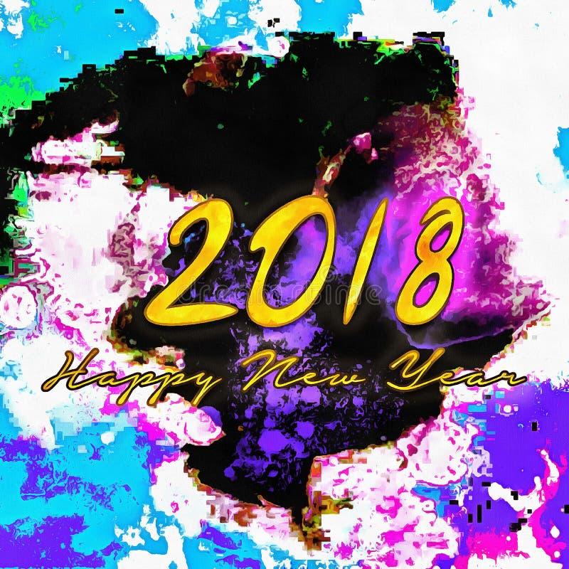 Bonne année colorée 2018/de fond illustration de vecteur