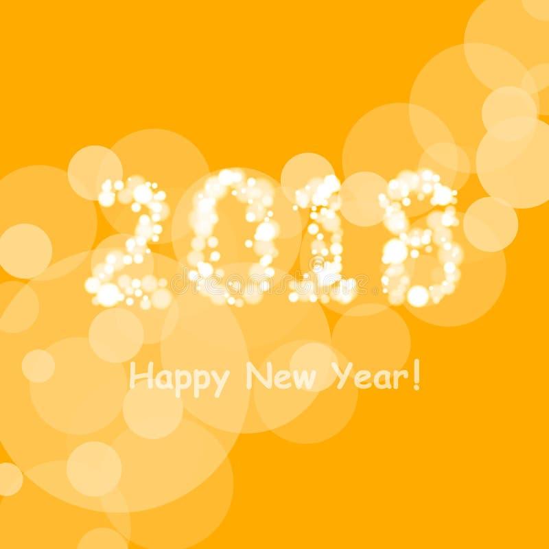 Bonne année 2018 dans le modèle de fusée de bokeh et de lentille sur le fond d'orange d'été illustration libre de droits