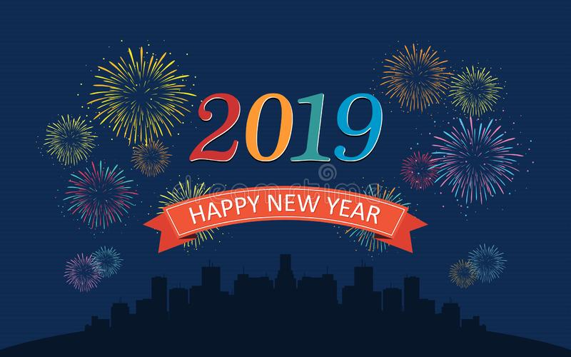 Bonne année 2019 dans les rubans avec les feux d'artifice colorés et horizon rond de ville la nuit sur le fond bleu-foncé de coul illustration libre de droits