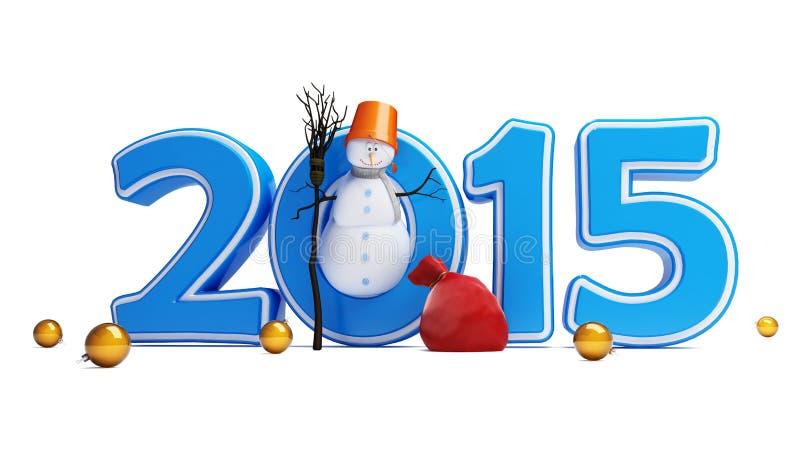 Bonne année 2015 de bonhommes de neige illustration stock