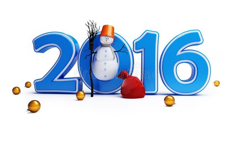 Bonne année 2016 de bonhommes de neige illustration libre de droits