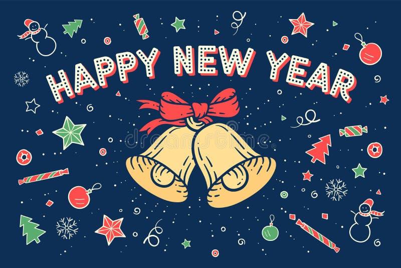 Bonne année de carte de voeux illustration stock