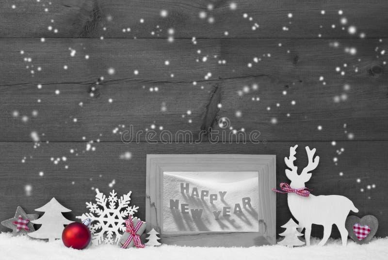 Bonne année de Gray Christmas Background Snowflakes Frame images stock