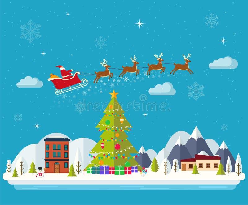 Bonne année de paysage d'hiver et Joyeux Noël illustration stock