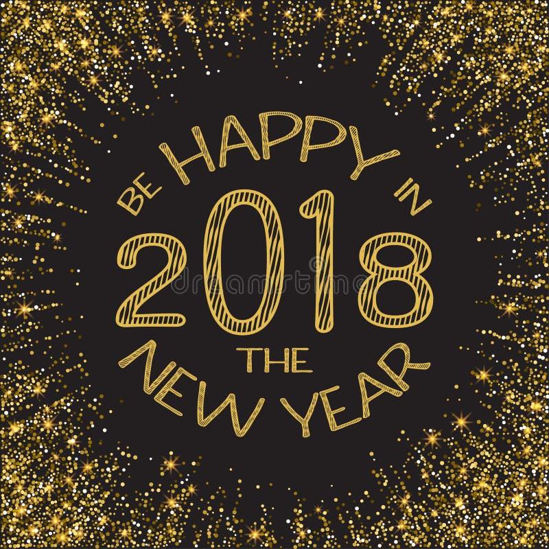 Bonne année 2018 Année de scintillement d'or nouvelle Fond d'or pour l'insecte, affiche, signe, bannière, Web, en-tête Résumé illustration stock