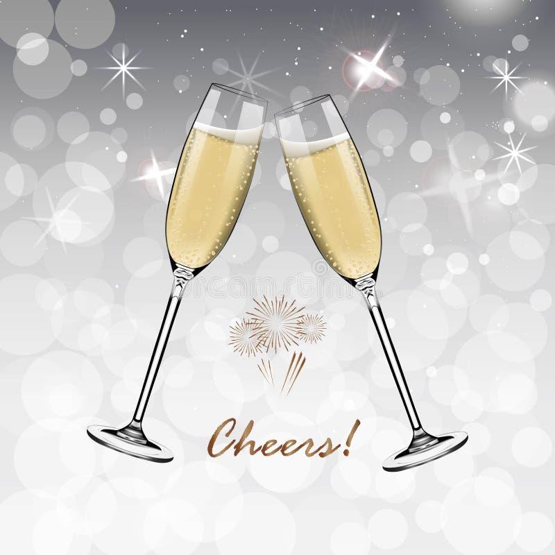 Bonne année de vecteur avec griller des verres de champagne sur le fond blanc de neige dans le style réaliste Carte de voeux ou illustration stock