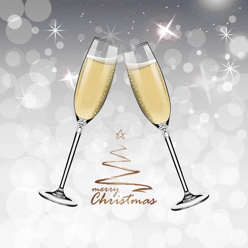 Bonne année de vecteur avec griller des verres de champagne sur le fond blanc de neige dans le style réaliste Carte de voeux ou illustration libre de droits