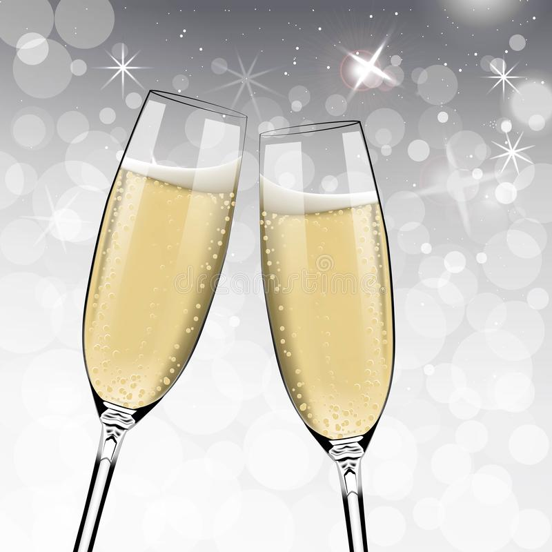 Bonne année de vecteur avec griller des verres de champagne sur le fond blanc de neige dans le style réaliste Carte de voeux ou illustration de vecteur