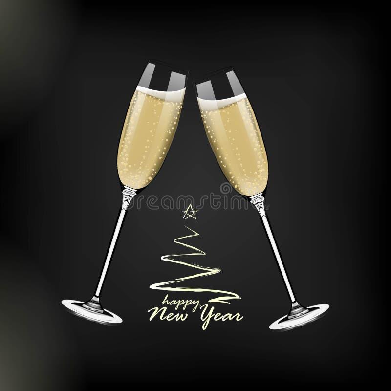 Bonne année de vecteur avec griller des verres de champagne sur le fond foncé dans le style réaliste Carte de voeux ou partie illustration de vecteur