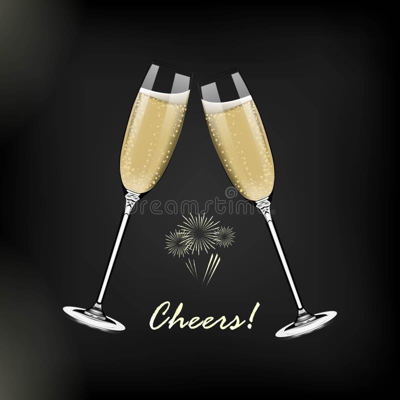 Bonne année de vecteur avec griller des verres de champagne sur le fond foncé dans le style réaliste Carte de voeux ou partie illustration stock