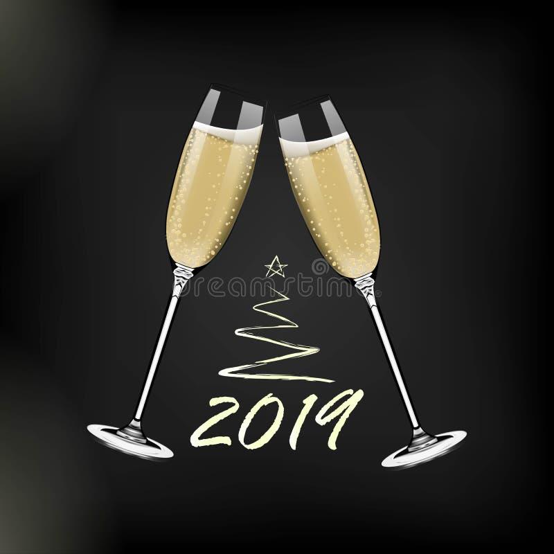 Bonne année de vecteur avec griller des verres de champagne sur le fond foncé dans le style réaliste Carte de voeux ou partie illustration libre de droits