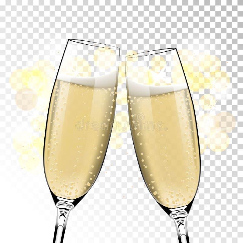 Bonne année de vecteur avec griller des verres de champagne sur le fond transparent dans le style réaliste Carte de voeux ou illustration libre de droits