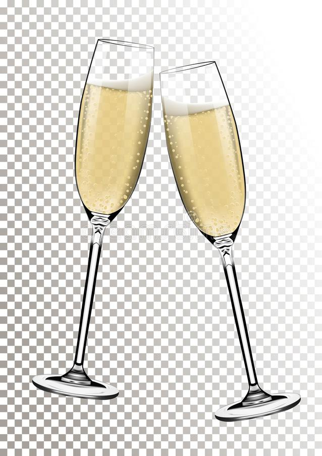 Bonne année de vecteur avec griller des verres de champagne sur le fond transparent dans le style réaliste Carte de voeux ou illustration stock