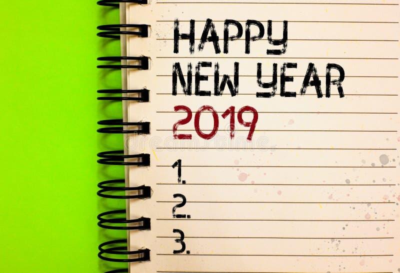 Bonne année 2019 des textes d'écriture de Word Concept d'affaires pour le noir écrit de célébration de salutation de nouveau débu photographie stock