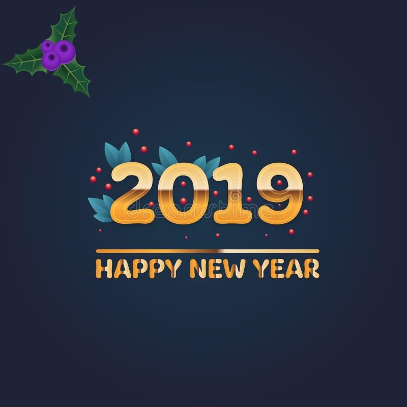 Bonne année 2019, design de carte photographie stock libre de droits