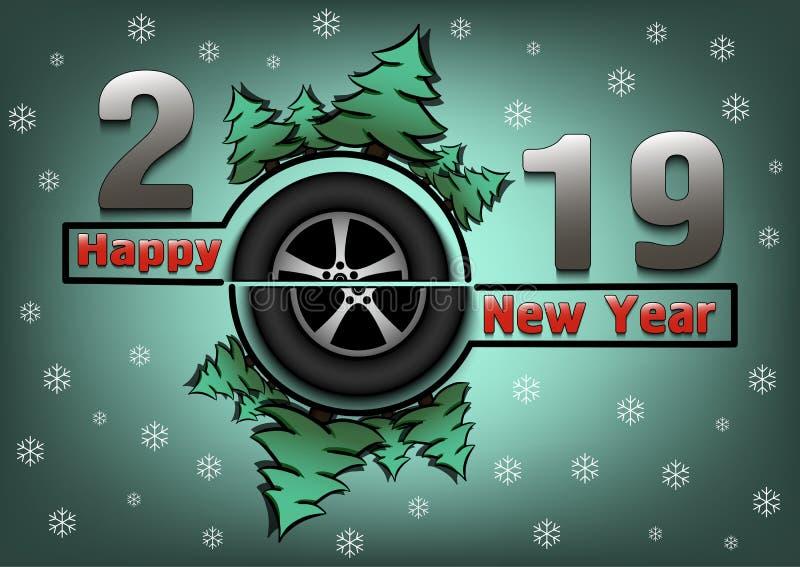 Bonne année 2019 et automobile de roue illustration de vecteur