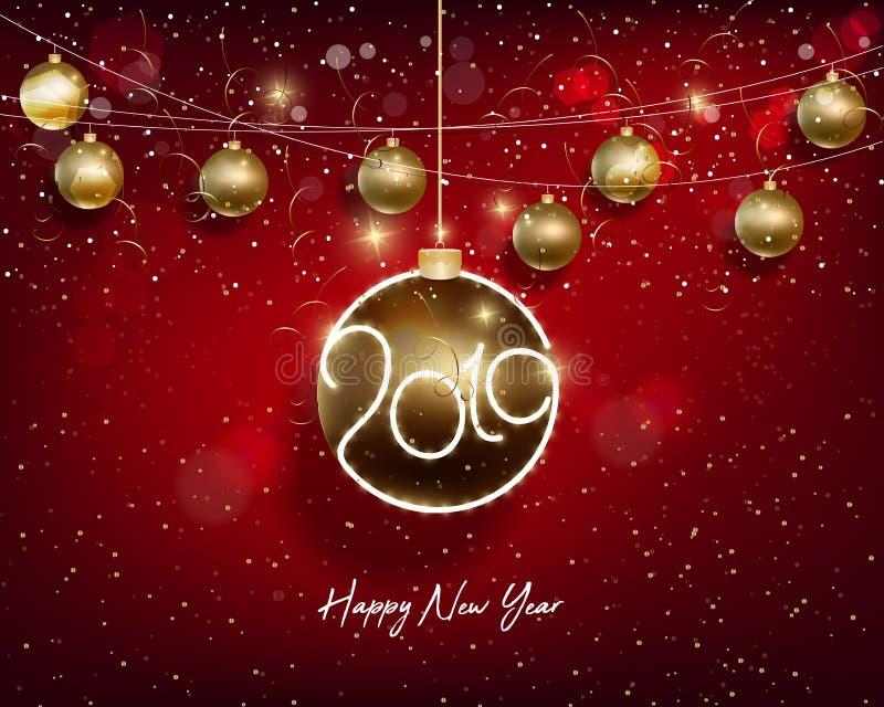 Bonne année 2019 et Joyeux Noël photo stock