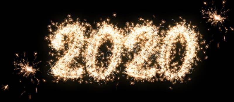 Bonne année et joyeux Noël 2020 Numéro 2020 des étincelants écrits isolés sur fond noir Superposition photos libres de droits