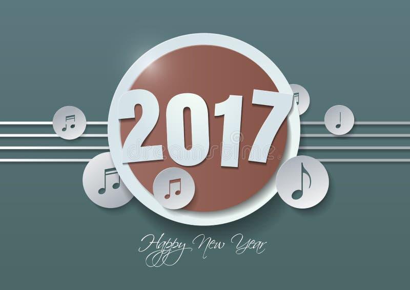 Bonne année 2017 et notes de musique coupées du papier illustration stock