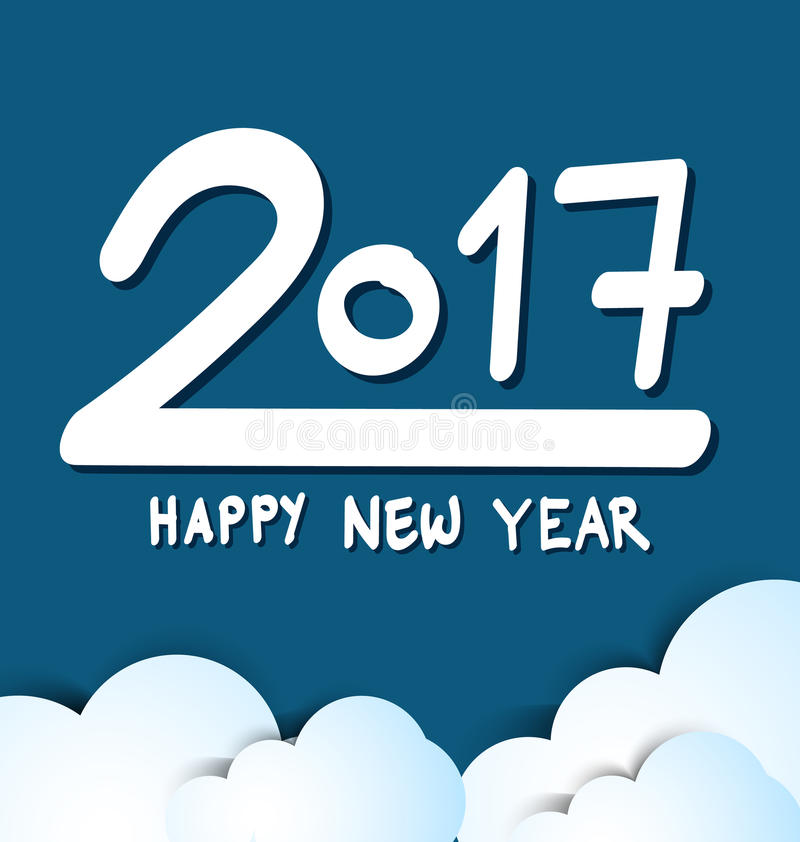 Bonne année 2017, fond bleu image stock