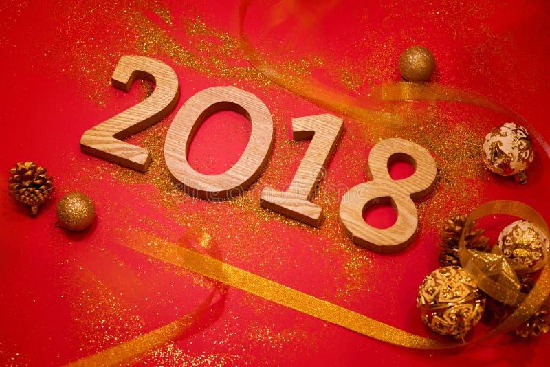 Bonne année 2018 Fond de rouge de vacances photographie stock libre de droits