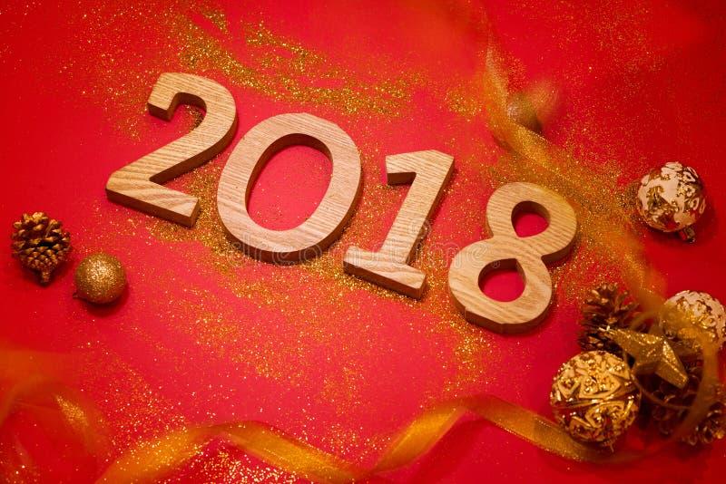 Bonne année 2018 Fond de rouge de vacances photos stock
