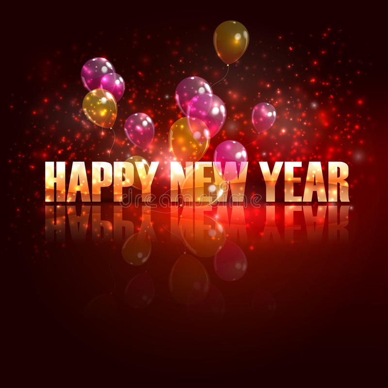 Bonne année. fond de vacances avec des ballons illustration de vecteur