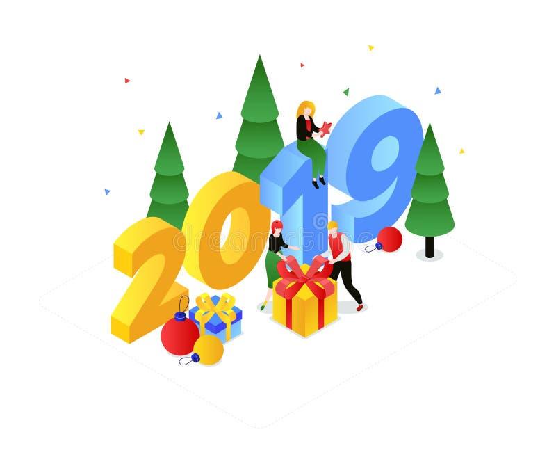 Bonne année - illustration isométrique colorée moderne de vecteur illustration de vecteur