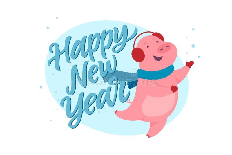 Bonne année - illustration moderne de personnage de dessin animé illustration stock
