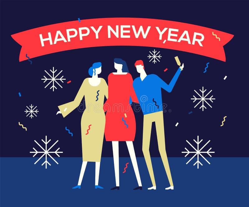 Bonne année 2019 - illustration plate de style de conception illustration de vecteur