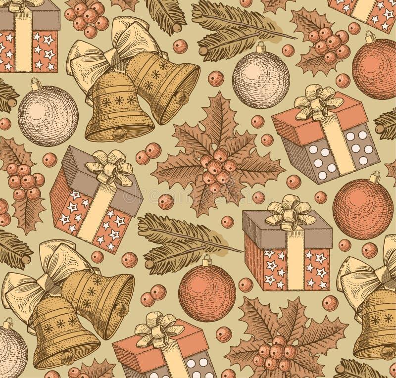 Bonne année, Joyeux Noël Fond de l'hiver vacances Cadeaux, jouets, cloches, style réaliste d'arbre Fond de salutation positionnem illustration libre de droits