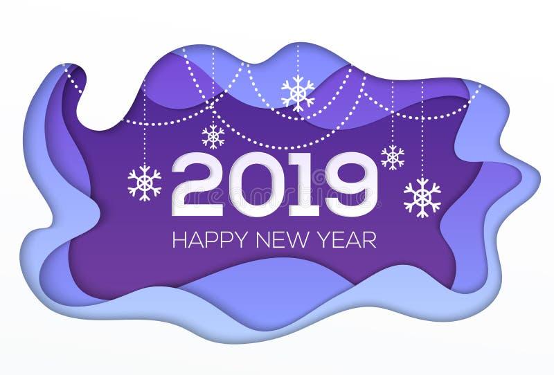 Bonne année 2018 - le papier moderne de vecteur a coupé l'illustration illustration de vecteur