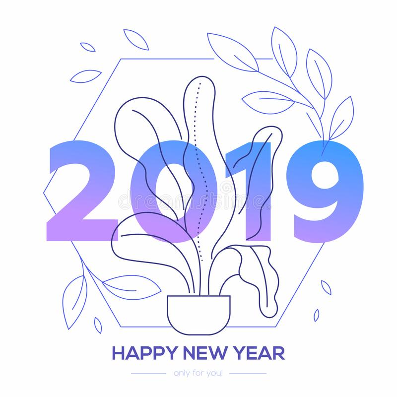 Bonne année - ligne moderne illustration de style de conception illustration de vecteur